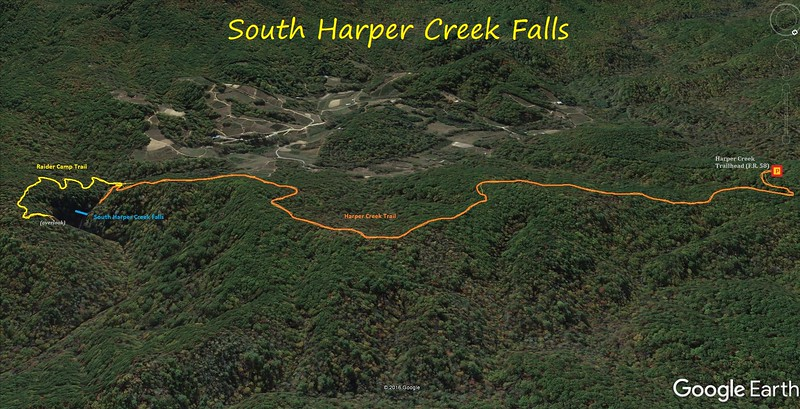 South Harper Creek Falls Route Map