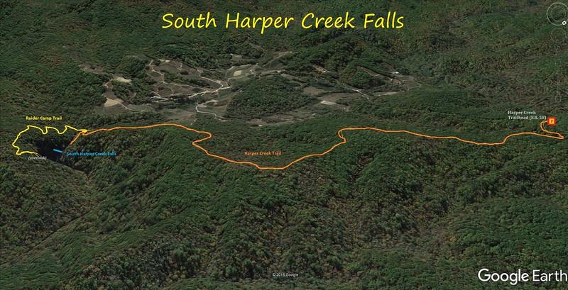 South Harper Creek Falls Route Map