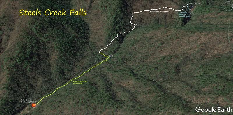 Steele's Creek Falls Route Map