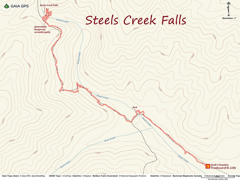 Steels Creek Falls Route Map