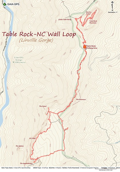 Table Rock-NC Wall Loop Route Map