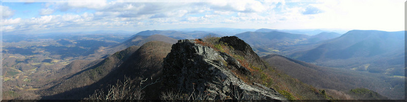 The rocky ridge that extends southwest from the summit. This is where the fun is on Three Top.