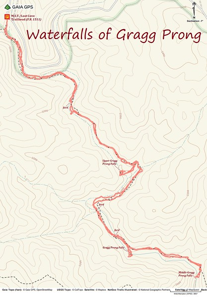 Gragg Prong Waterfalls Hike Route Map