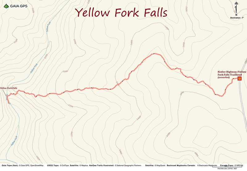 Yellow Fork Falls Hike Route Map