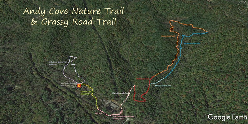 Andy Cove Nature Trail & Grassy Road Trail Hike Route Map