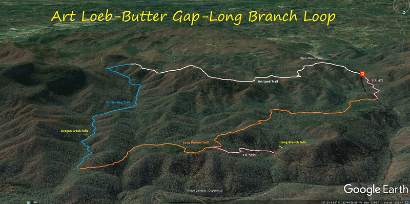 Art Loeb-Butter Gap-Long Branch Loop Route Map