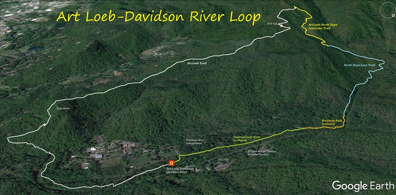 Art Loeb Trail-Davidson River Loop Hike Route Map