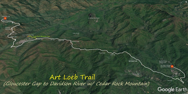 Art Loeb Trail - Gloucester Gap to Davidson River Hike Route Map