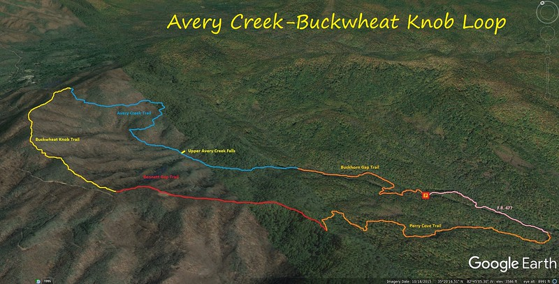 Avery Creek-Buckwheat Knob Loop Hike Route Map