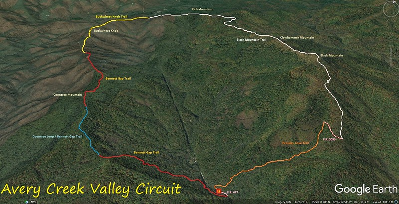 Avery Creek Valley Circuit Hike Route Map