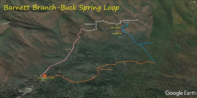 Barnett Branch-Buck Spring Loop Hike Route Map