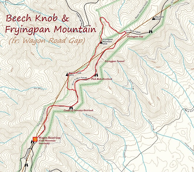 Beech Knob/Fryingpan Mountain Hike Route Map