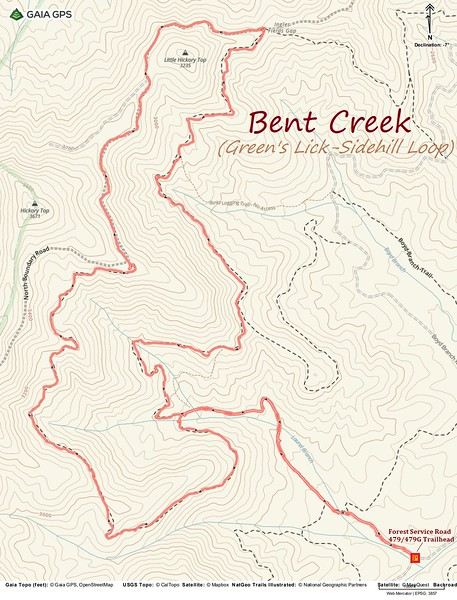 Bent Creek - Green's Lick/Sidehill Loop Hike Route Map