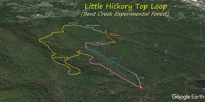 Little Hickory Top Loop Hike Route Map