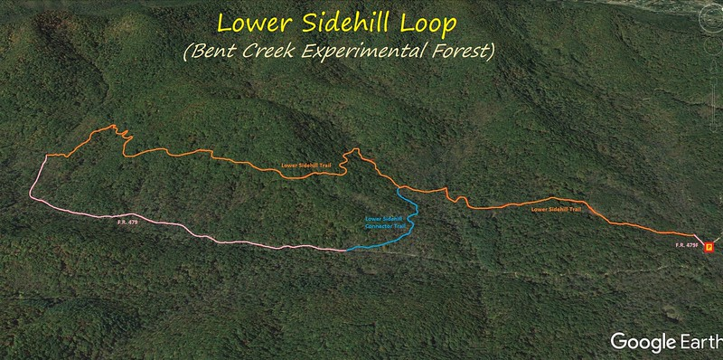 Lower Sidehill Loop Hike Route Map