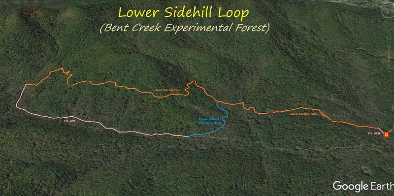 Lower Sidehill Loop Hike Route Map