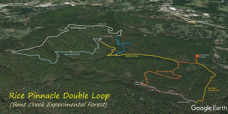 Rice Pinnacle Double Loop Hike Route Map