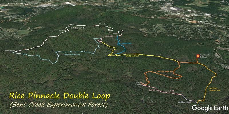 Rice Pinnacle Double Loop Hike Route Map