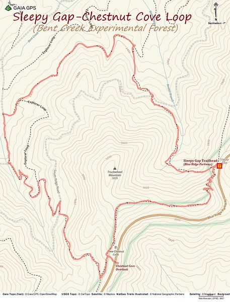 Bent Creek - Sleepy Gap/Chestnut Cove Loop Hike Route Map