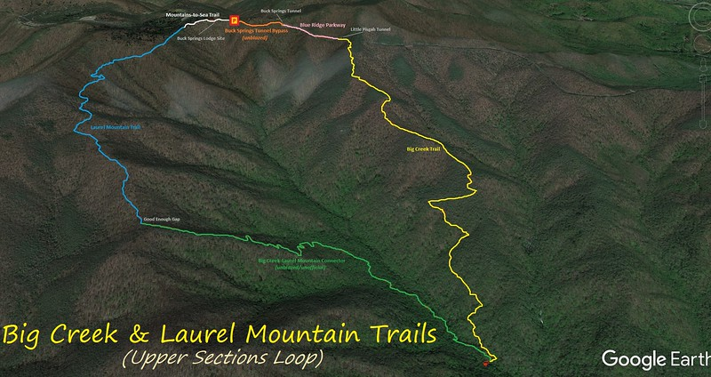 Big Creek/Laurel Mountain Upper Loop Hike Route Map