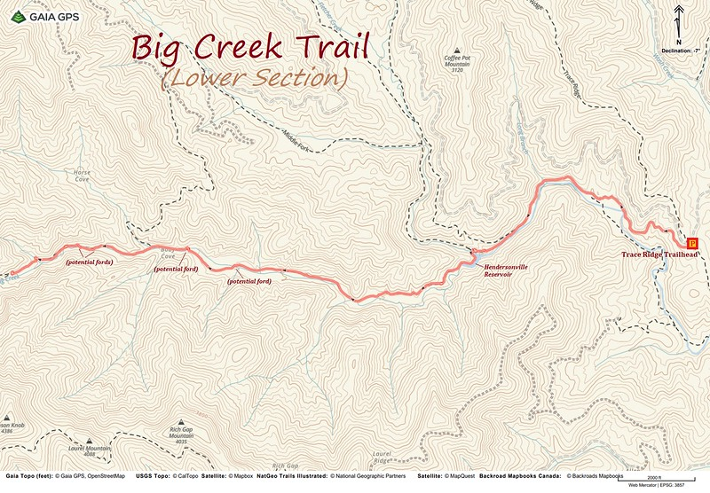 Lower Big Creek Trail Hike Route Map