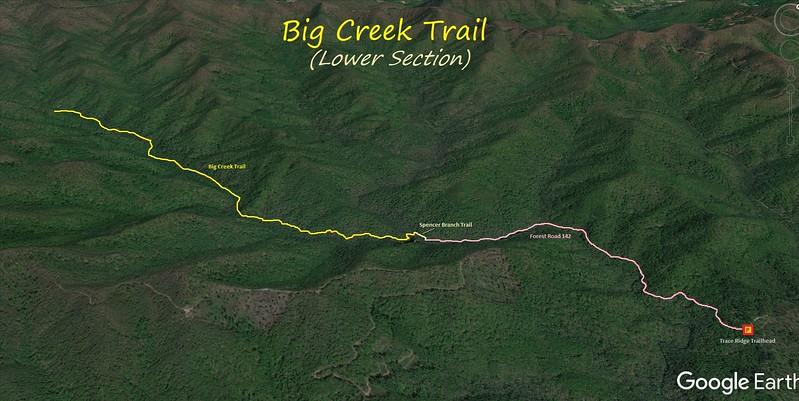 Lower Big Creek Trail Hike Route Map