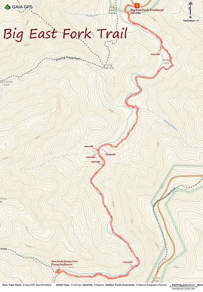 Big East Fork Route Map