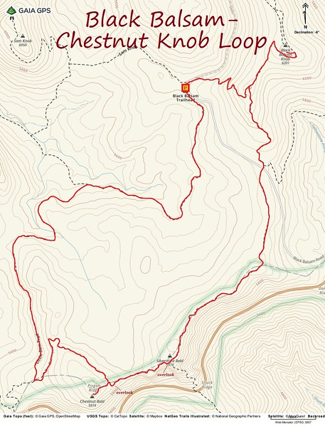 Black Balsam/Chestnut Knob Loop Hike Route Map