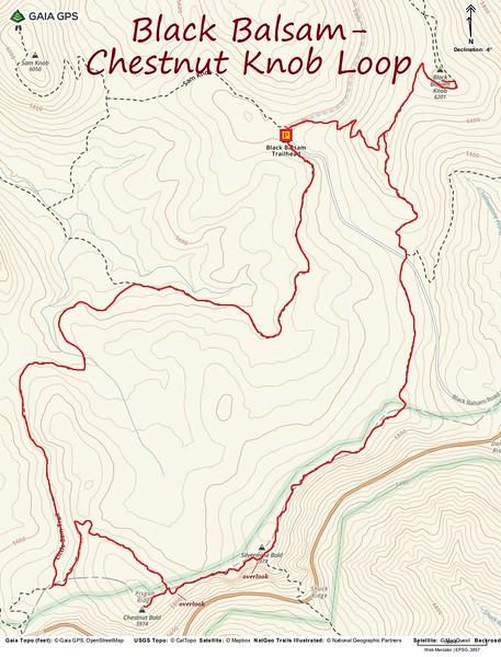 Black Balsam/Chestnut Knob Loop Hike Route Map
