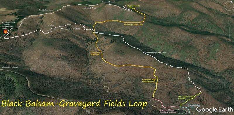 Black Balsam/Graveyard Fields Loop Hike Route Map