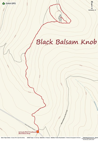 Black Balsam Knob Hike Route Map
