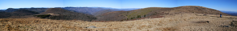The sweeping panorama from atop the ridge.  The summit of Black Balsam rises on the right, less than half a mile distant...