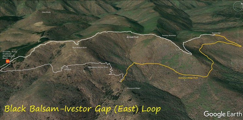 Black Balsam-Ivestor Gap East Loop Route Map