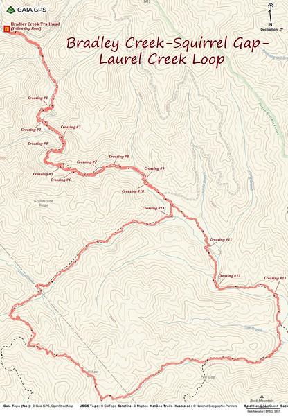 Bradley Creek-Squirrel Gap-Laurel Creek Loop Hike Route Map