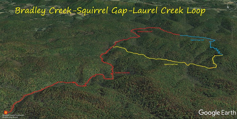 Bradley Creek-Squirrel Gap-Laurel Creek Loop Hike Route Map