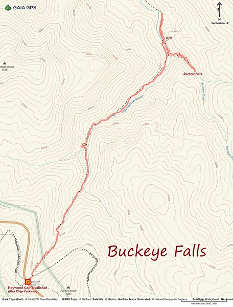 Buckeye Falls Hike Route Map
