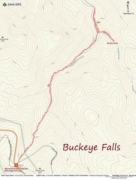 Buckeye Falls Hike Route Map