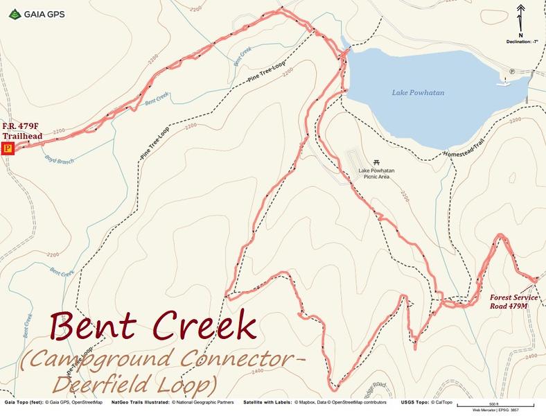 Campground Connector/Deerfield Loop Hike Route Map
