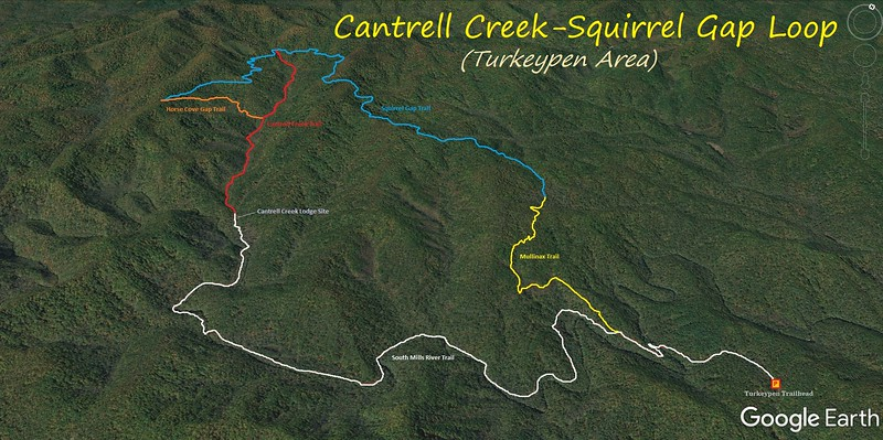 Cantrell Creek Trail-Squirrel Gap Trail Loop Hike Route Map
