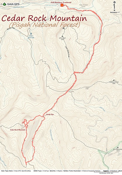 Cedar Rock Hike Route Map