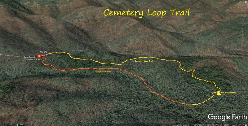 Cemetery Loop Trail Hike Route Map