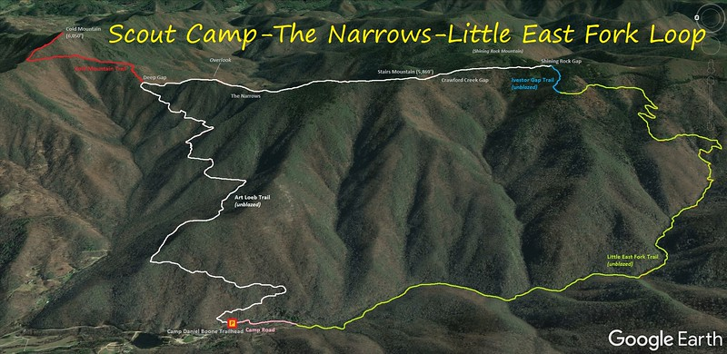 Scout Camp/The Narrows/Little East Fork Loop Hike Route Map