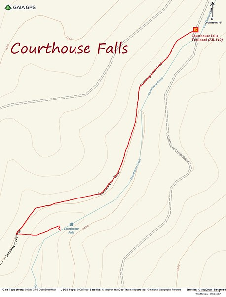 Courthouse Falls Hike Route Map