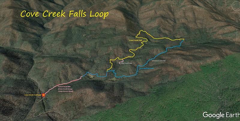Cove Creek Falls Loop Hike Route Map