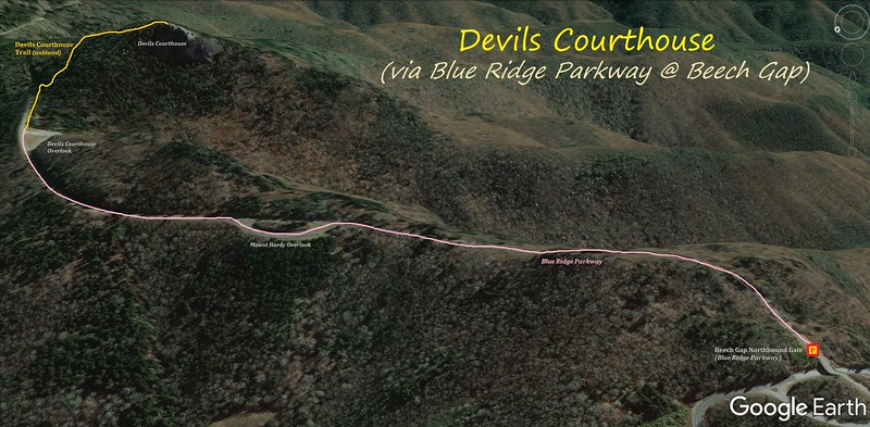 Devils Courthouse/Blue Ridge Parkway Hike Route Map