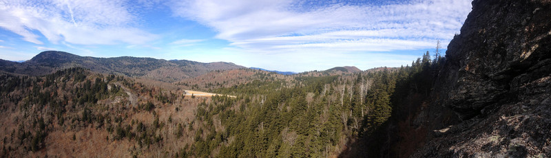 The panorama from beneath the cliffs of Devils Courthouse...
