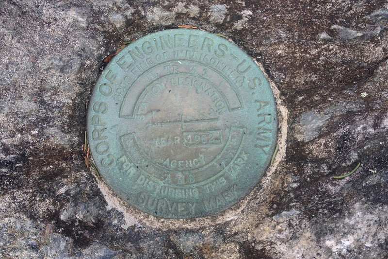 The true summit benchmark is located a few dozen feet to the east on a rock outcrop surrounded by thick shrubs...