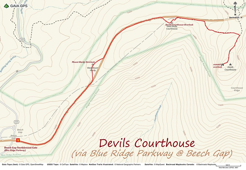 Devil's Courthouse Blue Ridge Parkway Hike Route Map
