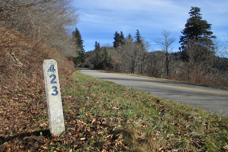 469 of these little Mileposts mark your progress as you travel the Parkway.  Mileages increase heading south meaning right here I was standing 423 miles from the Parkway's north terminus at Shenandoah National Park, VA and 46 miles north of its southern terminus at Great Smoky Mountains National Park...