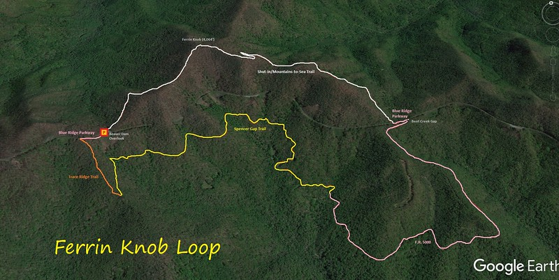 Ferrin Knob Loop Hike Route Map